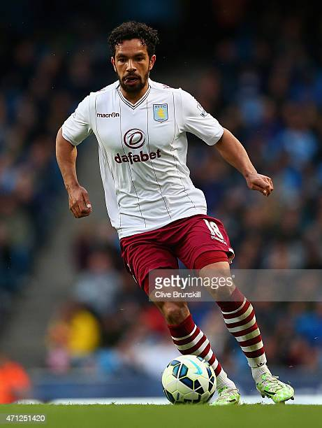 Kieran Richardson of Aston Villa in action during the Barclays Premier League match between Manchester City and Aston Villa at Etihad Stadium on...