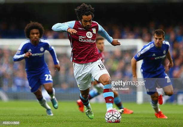 Kieran Richardson of Aston Villa in action during the Barclays Premier League match between Chelsea and Aston Villa at Stamford Bridge on October 17...
