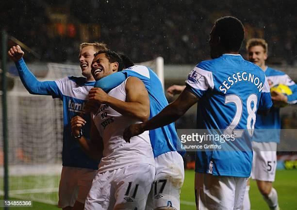 Kieran Richardson of Sunderland celebrates his goal during the Barclays Premier League match between Wolverhampton Wanderers and Sunderland at...
