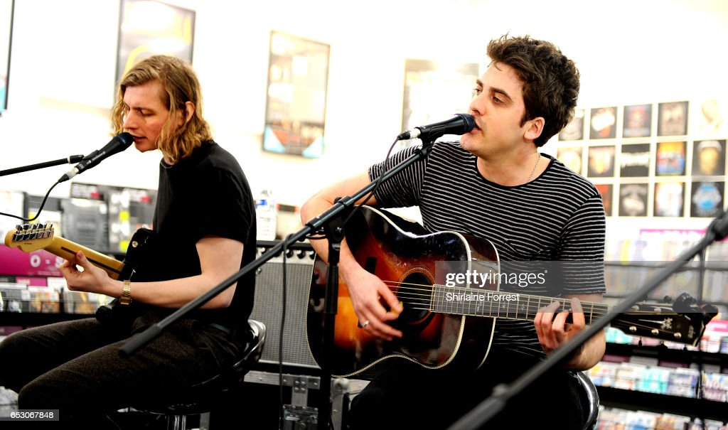 Kieran Shudall and Joe Falconer of Circa Waves perform instore and sign copies of their new album 'Different creatures' at HMV Manchester on March 13, 2017 in Manchester, United Kingdom.