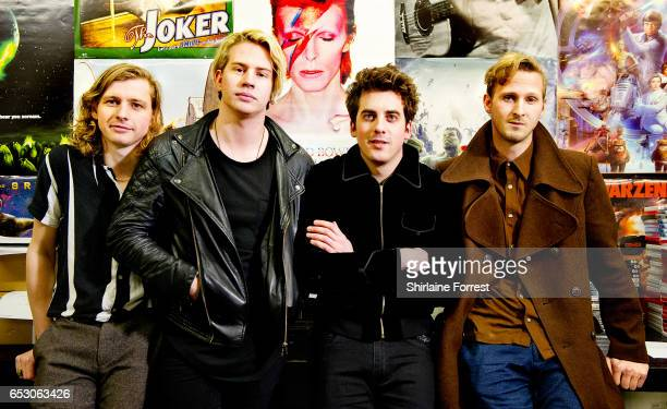 Kieran Shudall Sam Rourke Colin Jones and Joe Falconer of Circa Waves pose backstage after performing instore and signing copies of their new album...