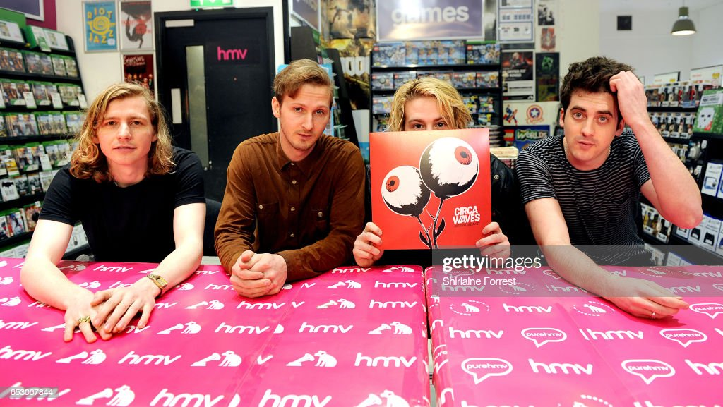 Kieran Shudall, Sam Rourke, Colin Jones and Joe Falconer of Circa Waves perform instore and sign copies of their new album 'Different creatures' at HMV Manchester on March 13, 2017 in Manchester, United Kingdom.