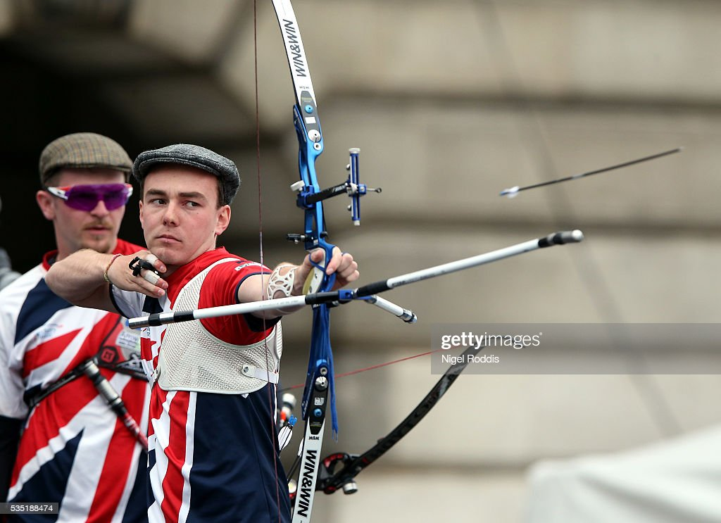 Kieran Slater of Great Britain shoots during the Men's Recurve Gold medal team match at the European Archery Championship on May 29, 2016 in Nottingham, England.