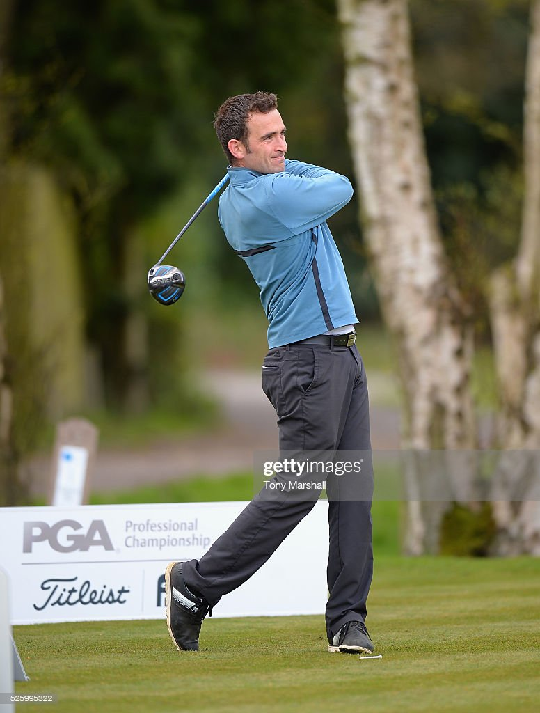 Kieran Thomas of Brampton Heath Golf Centre plays his first shot on the 1st tee during the PGA Professional Championship - Midland Qualifier at Little Aston Golf Club on April 29, 2016 in Sutton Coldfield, England.
