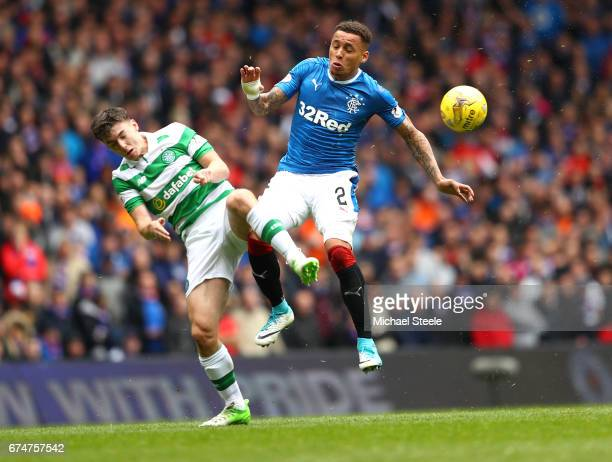 Kieran Tierney of Celtic and James Tavernier of Rangers battle for the ball during the Ladbrokes Scottish Premiership match between Rangers and...