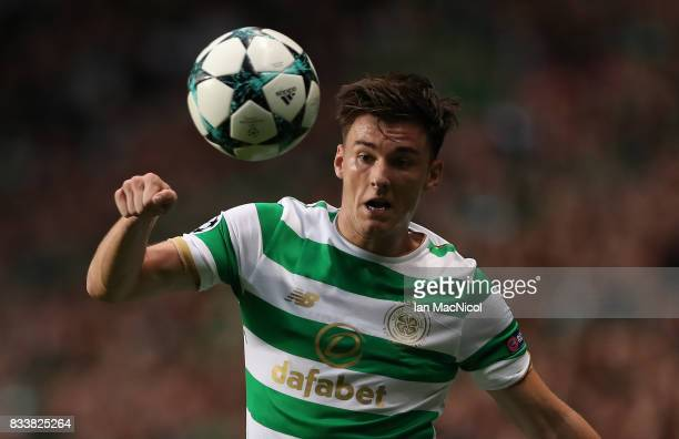 Kieran Tierney of Celtic controls the ball during the UEFA Champions League Qualifying PlayOffs Round First Leg match between Celtic FC and FK Astana...