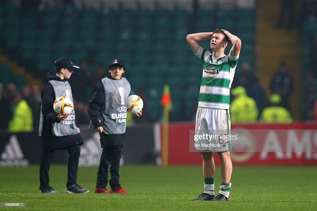 Kieran Tierney of Celtic reacts following his team's 21 defeat during the UEFA Europa League Group A match between Celtic FC and Molde FK at Celtic...