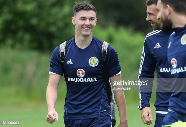 Kieran Tierney of Scotland chats with teammates during the Scotland training session at Mar Hall on June 9 2017 in Glasgow Scotland