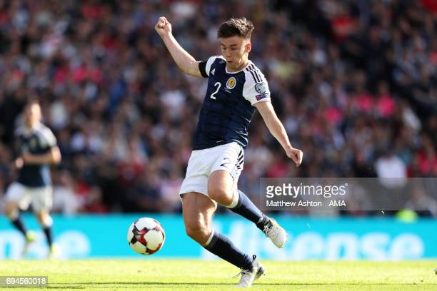 Kieran Tierney of Scotland in action during the FIFA 2018 World Cup Qualifier between Scotland and England at Hampden Park National Stadium on June...