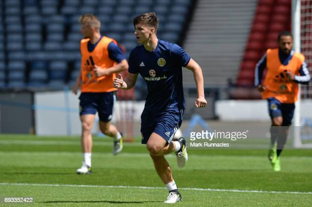 Kieran Tierney of Scotland in action during the Scotland training session at Hampden Park on June 7 2017 in Glasgow Scotland