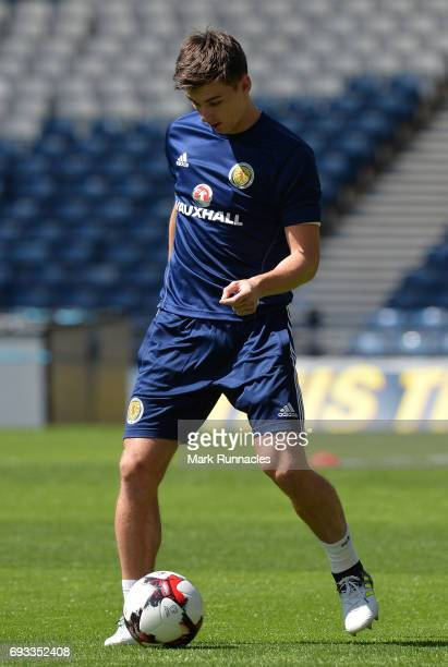 Kieran Tierney of Scotland passes a ball during the Scotland training session at Hampden Park on June 7 2017 in Glasgow Scotland