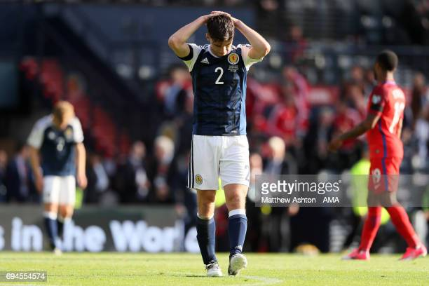 Kieran Tierney of Scotland reacts after England's late equaliser during the FIFA 2018 World Cup Qualifier between Scotland and England at Hampden...