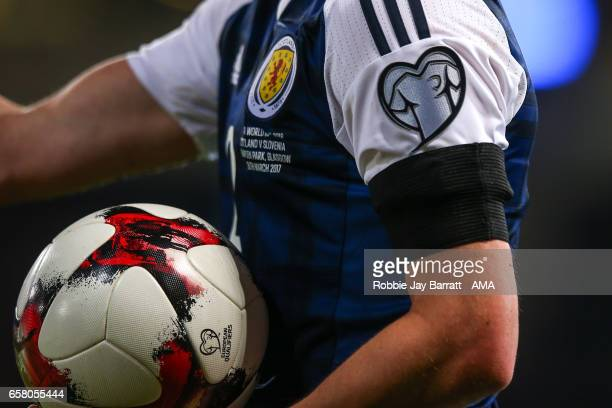 Kieran Tierney of Scotland wears a black armband in memory of the fallen in London during the FIFA 2018 World Cup Qualifier between Scotland and...