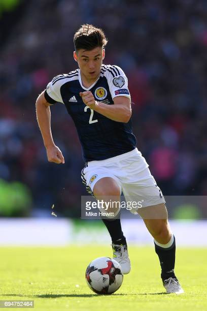 Kieran Tierney of Sotland in action during the FIFA 2018 World Cup Qualifier between Scotland and England at Hampden Park National Stadium on June 10...