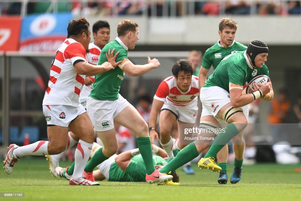 Kieran Treadwell of Ireland runs with the ball during the international rugby friendly match between Japan and Ireland at Shizuoka Stadium on June 17, 2017 in Fukuroi, Japan.