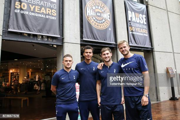 Kieran Trippier Dele Alli Ben Davies and Eric Dier of the Tottenham Hotspur FC visit the Country Music Hall of Fame and Museum on July 27 2017 in...