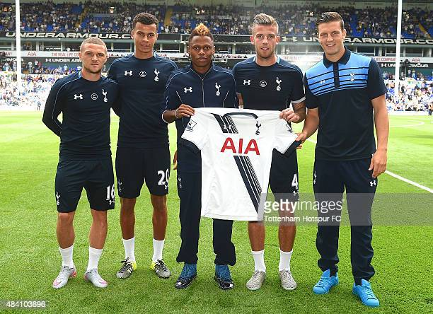 Kieran Trippier Dele Alli Clinton Njie Toby Alderweireld and Kevin Wimmer pose for photo before the Barclays Premier League match between Tottenham...