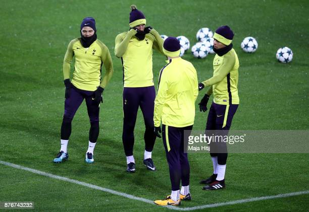 Kieran Trippier Harry Kane Eric Dier and Dele Alli of Tottenham Hotspur during a Tottenham Hotspur training session ahead of the Chamions League...