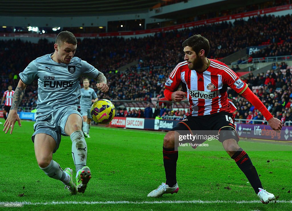 Kieran Trippier of Burnley and Danny Graham of Sunderland during the Barclays Premier League match between Sunderland and Burnley at Stadium of Light on January 31, 2015 in Sunderland, England.