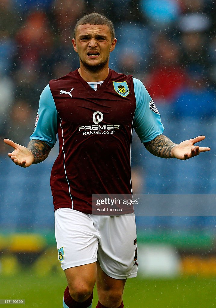 <a gi-track='captionPersonalityLinkClicked' href=/galleries/search?phrase=Kieran+Trippier&family=editorial&specificpeople=6335851 ng-click='$event.stopPropagation()'>Kieran Trippier</a> of Burnley gestures during the Sky Bet Championship match between Burnley and Yeovil Town at Turf Moor on August 17, 2013 in Burnley, England