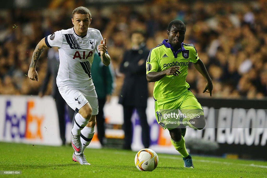 Kieran Trippier of Spurs chases down Frank Acheampong of Anderlecht during the UEFA Europa League Group J match between Tottenham Hotspur FC and RSC...