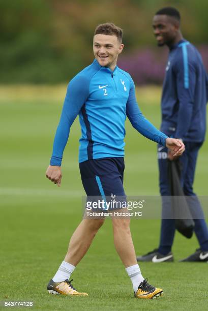 Kieran Trippier of Tottenham during the Tottenham Hotspur training session at Tottenham Hotspur Training Centre on September 7 2017 in Enfield England