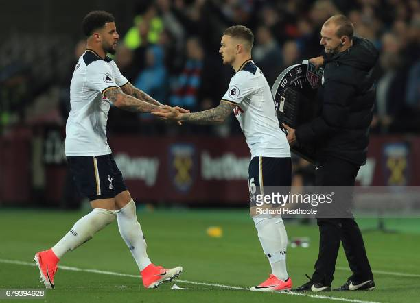 Kieran Trippier of Tottenham Hotspur comes on as a second half substitue for Kyle Walker of Tottenham Hotspur during the Premier League match between...