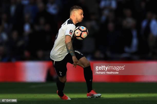 Kieran Trippier of Tottenham Hotspur controlls the ball during The Emirates FA Cup SemiFinal between Chelsea and Tottenham Hotspur at Wembley Stadium...