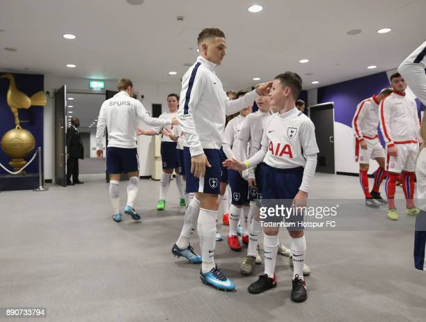 Kieran Trippier of Tottenham Hotspur greets the mascots prior to the Premier League match between Tottenham Hotspur and Stoke City at Wembley Stadium...