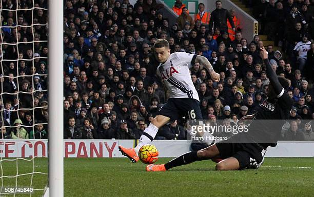 Kieran Trippier of Tottenham Hotspur scores during the Barclays Premier League match between Tottenham Hotspur and Watford at White Hart Lane on...