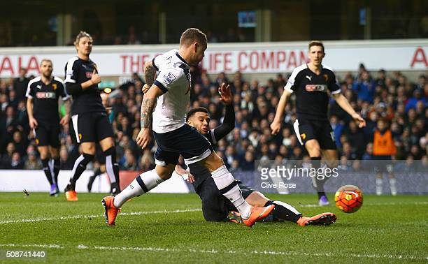 Kieran Trippier of Tottenham Hotspur scores his team's first goal during the Barclays Premier League match between Tottenham Hotspur and Watford at...