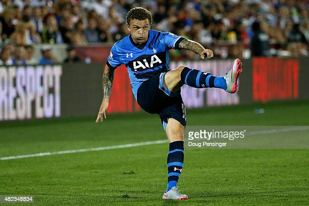 Kieran Trippier of Tottenham Hotspur strikes the ball against the MLS AllStars during the 2015 ATT Major League Soccer AllStar game at Dick's...