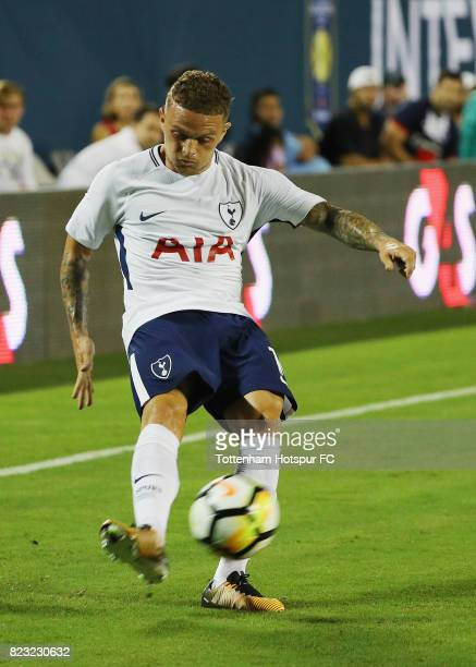 Kieran Trippier of Tottenham Hotspurs works the ball against Paris SaintGermain during a International Champions Cup 2017 game at Camping World...