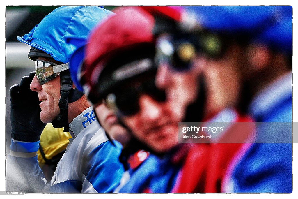 Kieren Fallon adjusts his goggles at Ascot racecourse on May 09 2015 in Ascot England
