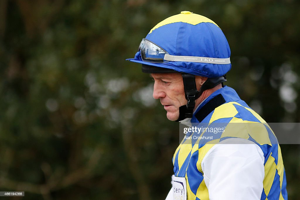 Kieren Fallon poses at Lingfield racecourse on March 14 2015 in Lingfield England
