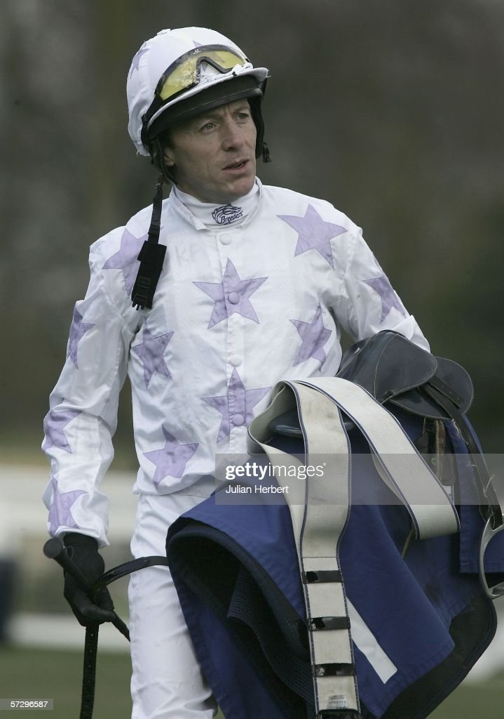 Kieren Fallon returns after ridding Blue Train in The Crimestoppers Handicap Stakes Race run at Windsor on April 10 in Windsor England