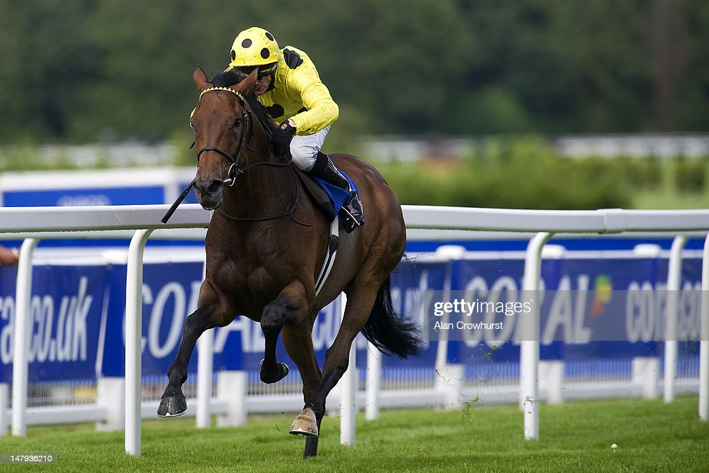 Kieren Fallon riding Afsare win The Ambant Gala stakes at Sandown racecourse on July 06 2012 in Esher England