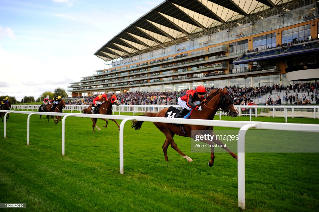 Kieren Fallon riding Common Touch win The National Racecourse Catering Awards Handicap Stakes at Ascot racecourse on October 04 2013 in Ascot England
