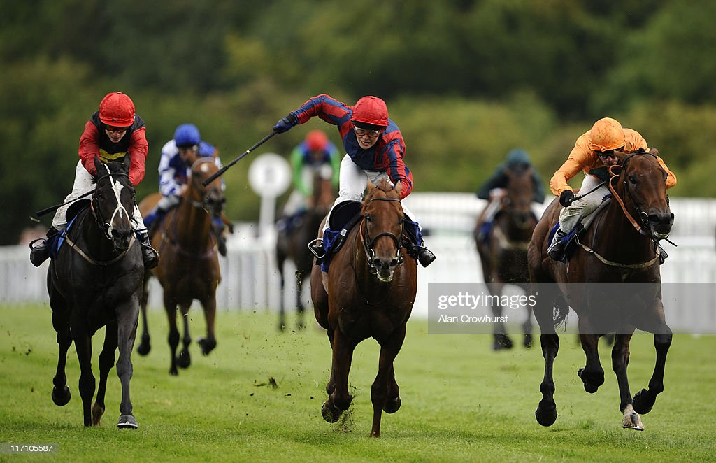 Kieren Fallon riding Leviathan wins The Molson Coors Noel Cannon Memorial Trophy Handicap Stakes from Vainglory ridden by Laura Pike at Salisbury...