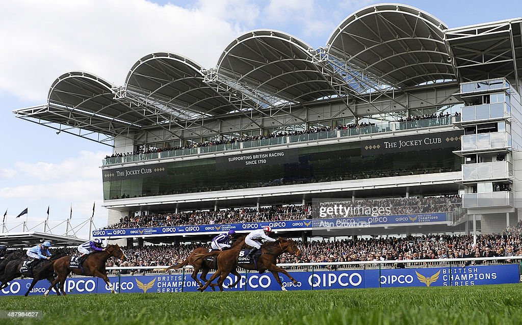 Kieren Fallon riding Night Of Thunder win The Qipco 2000 Guineas Stakes at Newmarket racecourse on May 03 2014 in Newmarket England