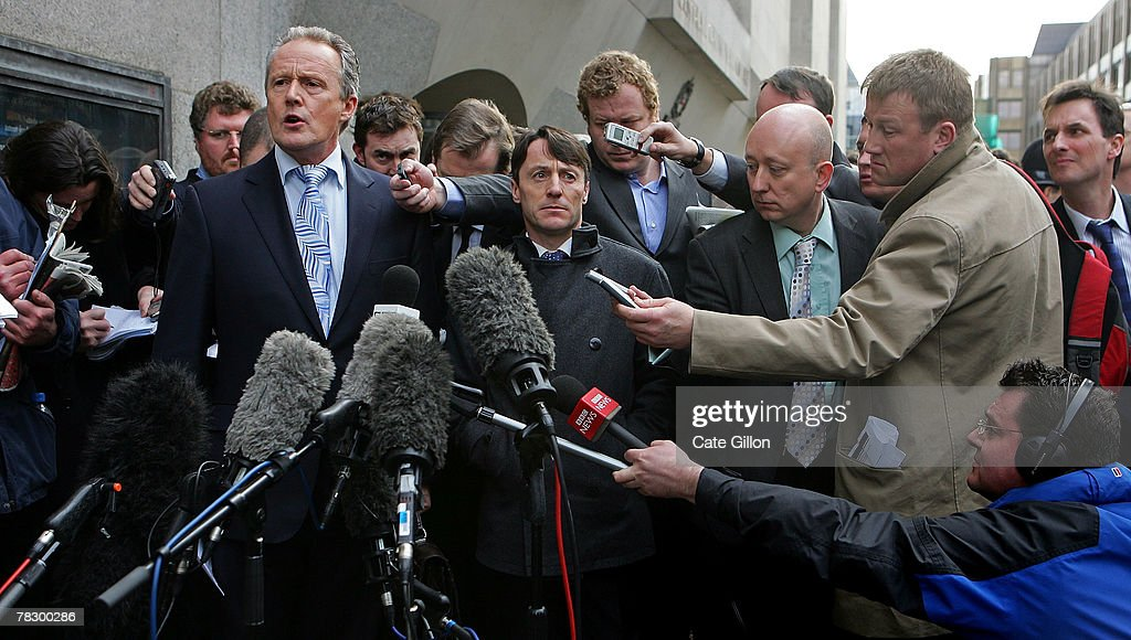 Kieren Fallon's spokesperson Brian MacLaurin speaks to the press with Fallon after leaving the Central Criminal Court on December 7 2007 in London...