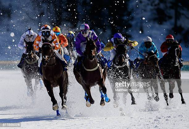 Kieren Fox riding Berrahri Rene Piechulek riding Jungleboogie and Daniele Porcu riding Soundtrack compete during the Grosser Preis von St Moritz Flat...