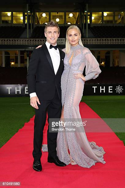 Kieren Jack and Charlotte Goodlet arrive at the Sydney Swans function at Sydney Cricket Ground ahead of the 2016 AFL Brownlow Medal ceremony on...