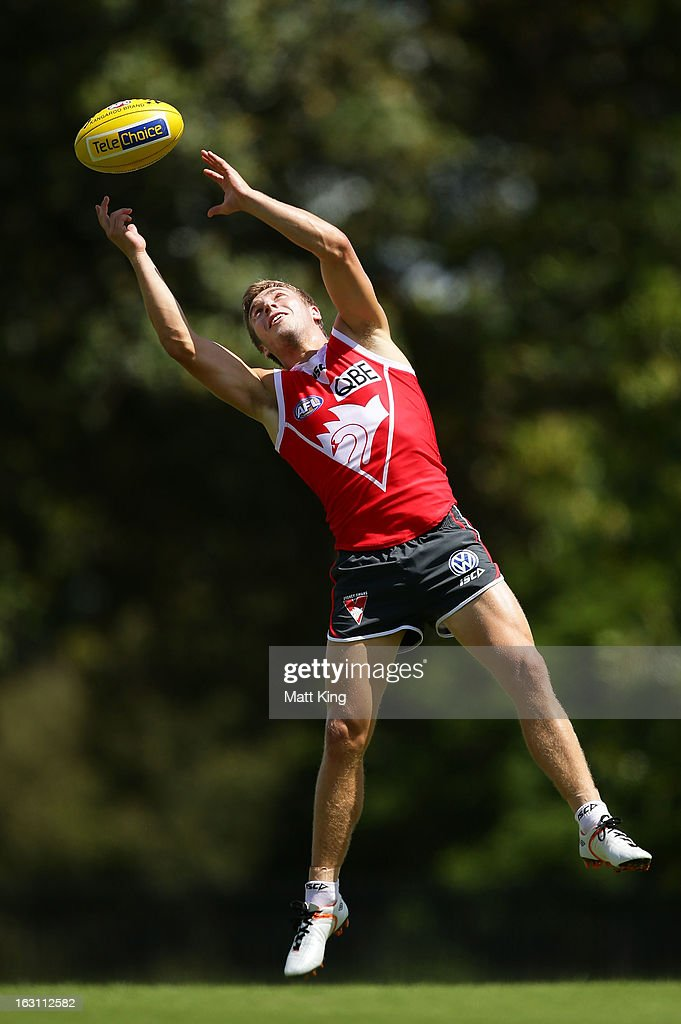 Kieren Jack catches the ball during a Sydney Swans AFL training session at Lakeside Oval on March 5, 2013 in Sydney, Australia.