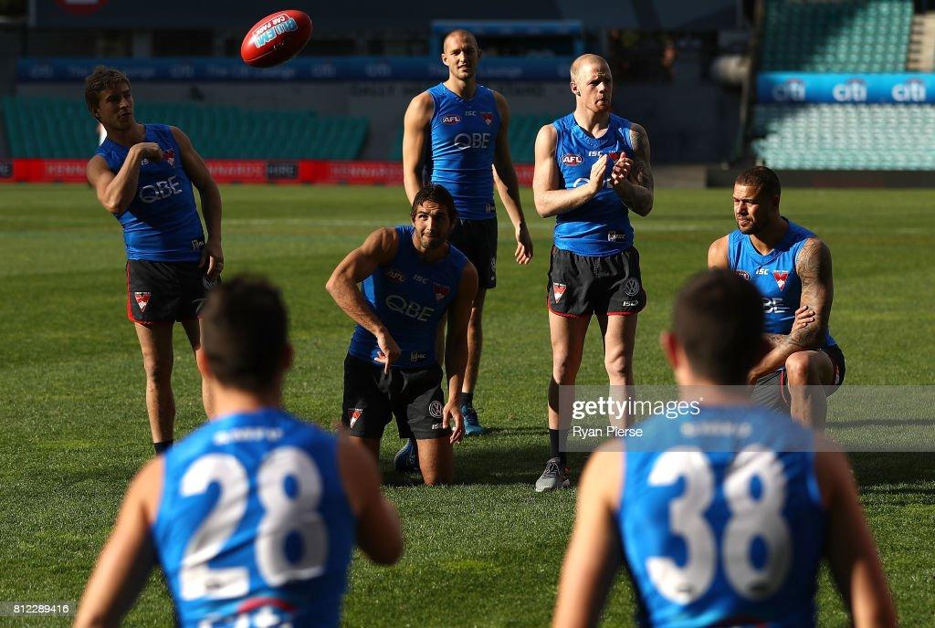 Kieren Jack, Josh Kennedy, Sam Reid, Zak Jones and Lance Franklin of the Swans train during a Sydney Swans AFL training session at Sydney Cricket Ground on July 11, 2017 in Sydney, Australia.