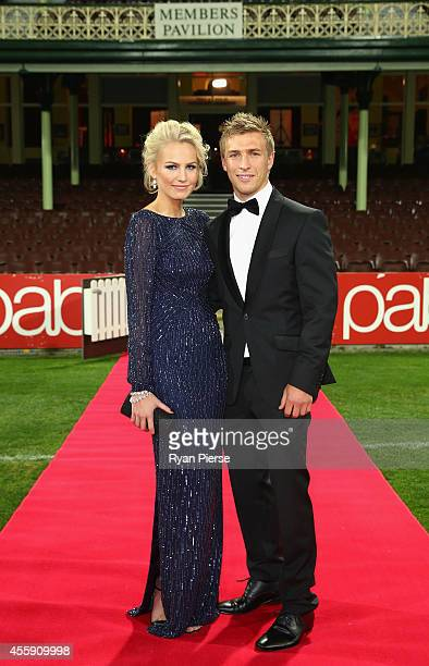 Kieren Jack of the Swans and partner Charlotte Goodlet arrive ahead of the Sydney Swans official Brownlow Medal function at Sydney Cricket Ground on...