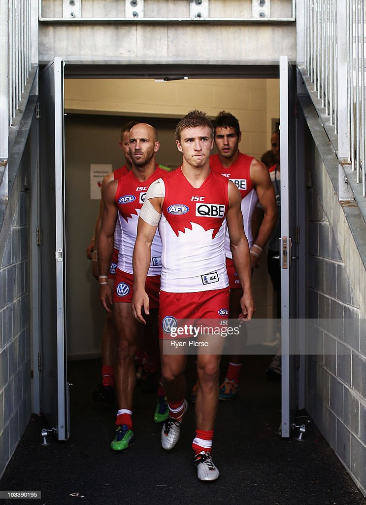 Kieren Jack of the Swans leads his team out during the round three NAB Cup AFL match between the Sydney Swans and the Gold Coast Suns at Blacktown International Sportspark on March 9, 2013 in Sydney, Australia.
