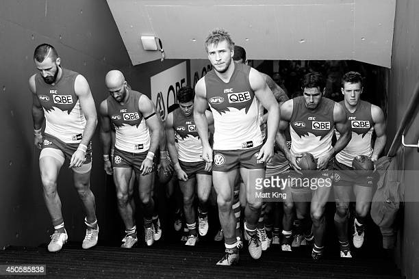 Kieren Jack of the Swans leads the Swans through the race during the round 13 AFL match between the Sydney Swans and the Port Adelaide Power at...
