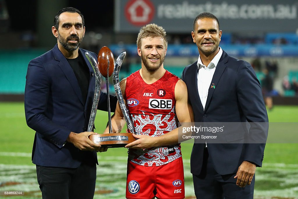 Kieren Jack of the Swans poses with <a gi-track='captionPersonalityLinkClicked' href=/galleries/search?phrase=Adam+Goodes&family=editorial&specificpeople=206473 ng-click='$event.stopPropagation()'>Adam Goodes</a> and <a gi-track='captionPersonalityLinkClicked' href=/galleries/search?phrase=Michael+O%27Loughlin&family=editorial&specificpeople=215115 ng-click='$event.stopPropagation()'>Michael O'Loughlin</a> with the Marn Grook Trophy after winning the round 10 AFL match between the Sydney Swans and the North Melbourne Kangaroos at Sydney Cricket Ground on May 27, 2016 in Sydney, Australia.