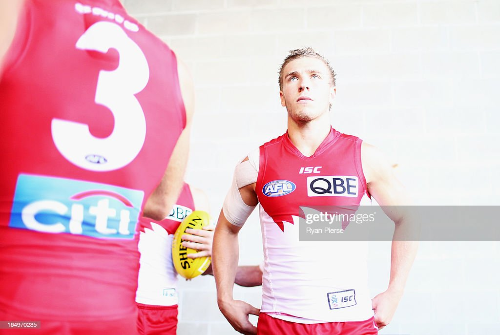 Kieren Jack of the Swans prepares to take the field during the round one AFL match between the Greater Western Sydney Giants and the Sydney Swans at ANZ Stadium on March 30, 2013 in Sydney, Australia.